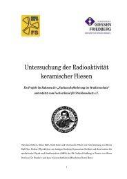 Untersuchung der Radioaktivität keramischer Fliesen