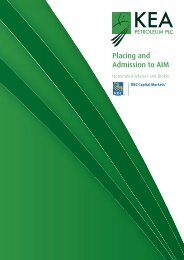Placing and Admission to AIM - Kea Petroleum