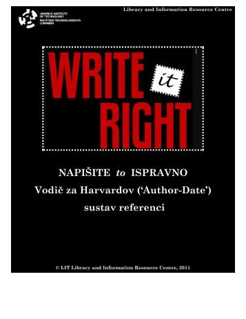 NAPIŠITE to ISPRAVNO Vodič za Harvardov ('Author-Date') sustav referenci