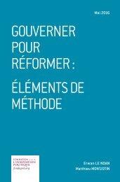GOUVERNER POUR RÉFORMER  ÉLÉMENTS DE MÉTHODE