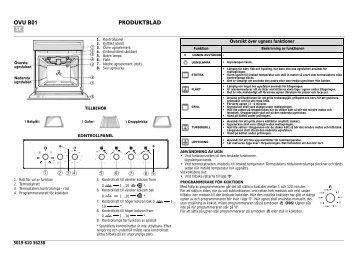 KitchenAid 501 506 19 - Oven - 501 506 19 - Oven SV (857921501030) Scheda programmi