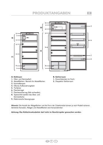 KitchenAid 914.1.10 - Refrigerator - 914.1.10 - Refrigerator EUR (855163016030) Scheda programmi