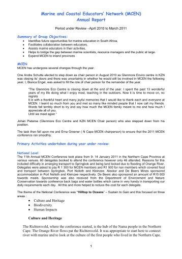 Marine and Coastal Educators' Network (MCEN) Annual ... - Sancor