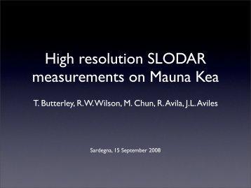 High resolution SLODAR measurements on Mauna Kea