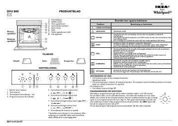 KitchenAid 301 230 14 - Oven - 301 230 14 - Oven SV (857921501000) Scheda programmi