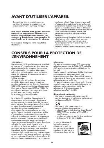 KitchenAid 911.4.02 - Refrigerator - 911.4.02 - Refrigerator FR (855164116010) Istruzioni per l'Uso