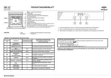 KitchenAid OBI 127 W - Oven - OBI 127 W - Oven DE (854148138000) Scheda programmi