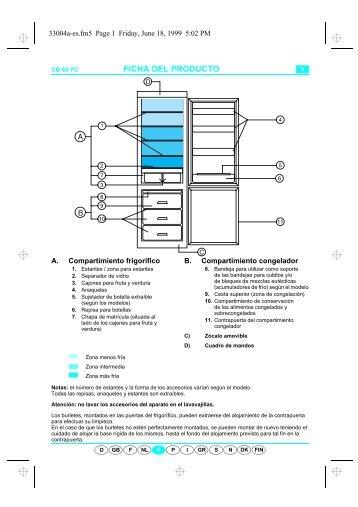 KitchenAid 600.150.70 CFS 609 W - Fridge/freezer combination - 600.150.70 CFS 609 W - Fridge/freezer combination ES (853948901010) Scheda programmi