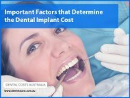 Important Factors that Affect the Dental Implant Cost in Australia