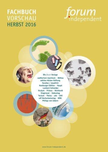 Herbst 2016 Fachbuch forum-independent Programmvorschau