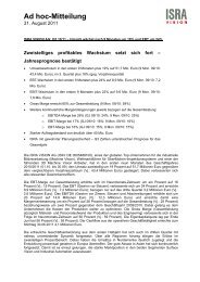 Ad hoc-Mitteilung - ISRA Vision AG