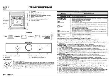 KitchenAid 201 506 06 - Oven - 201 506 06 - Oven DE (857926216000) Scheda programmi