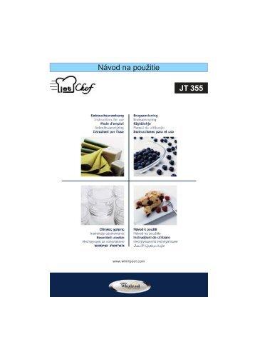 KitchenAid JT 355 WH - Microwave - JT 355 WH - Microwave SK (858735599290) Istruzioni per l'Uso