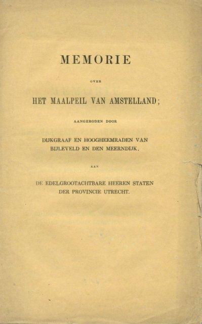 Memorie over het maalpeil van AMSTELLAND, Utrecht, 1851