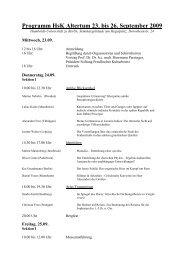 Programm HsK Altertum 23. bis 26. September 2009