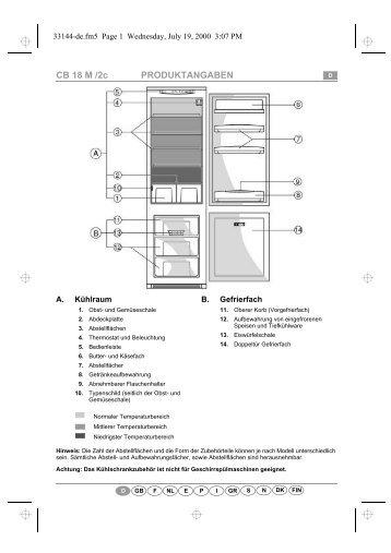 KitchenAid 2 FCI-46 - Fridge/freezer combination - 2 FCI-46 - Fridge/freezer combination DE (853976518070) Scheda programmi