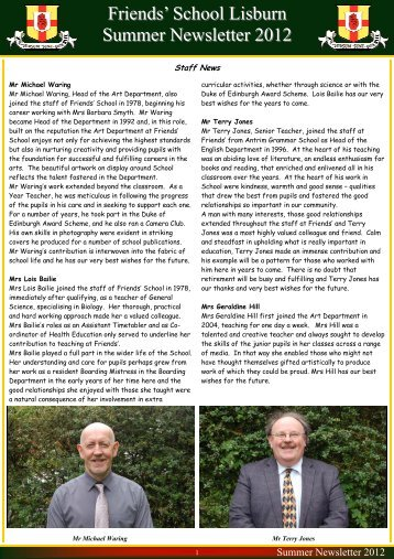 Summer Newsletter 2012 - Friends' School Lisburn