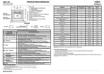 KitchenAid 700 947 31 - Oven - 700 947 31 - Oven DE (857917301010) Scheda programmi