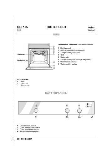 KitchenAid OBI 105 S - Oven - OBI 105 S - Oven FI (854147301030) Scheda programmi