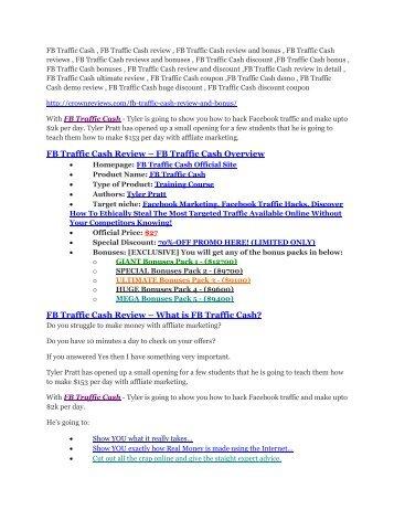 FB Traffic Cash review & huge $23800 bonuses