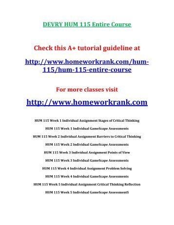 DEVRY HUM 115 Entire Course