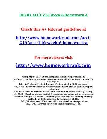DEVRY ACCT 216 Week 6 Homework A
