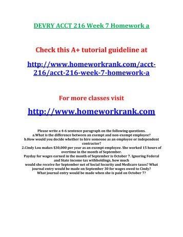 DEVRY ACCT 216 Week 7 Homework a