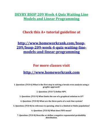DEVRY BSOP 209 Week 4 Quiz Waiting Line Models