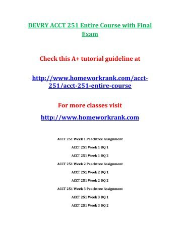 DEVRY ACCT 251 Entire Course with Final Exam