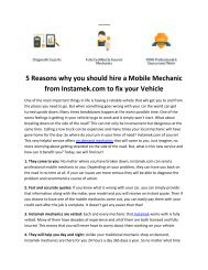 5 Reasons why you should hire a Mobile Mechanic from Instamek.com to fix your Vehicle