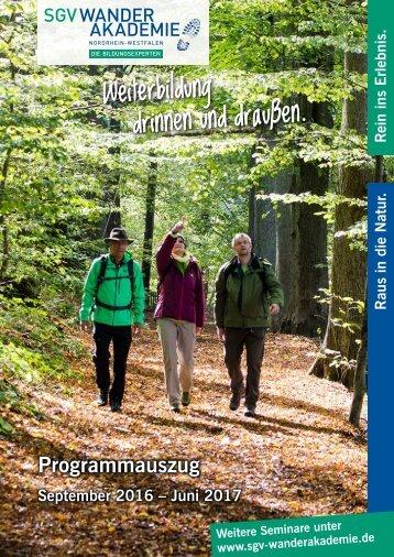 Seminarkalender Wanderakademie 2016-2017