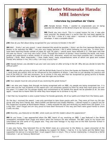 Master Mitsusuke Harada: MBE Interview - American Shotokai Karate