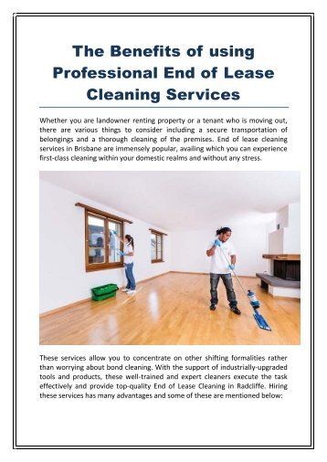 The Benefits of using Professional end of lease Cleaning Services