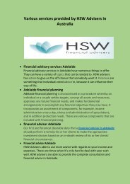 Various services provided by HSW Advisers in Australia