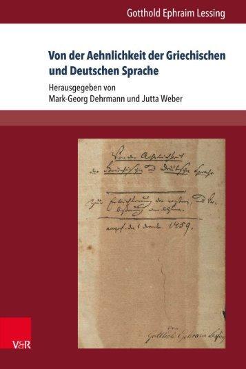 Vonder Aehnlichkeit der Griechischen und Deutschen Sprache