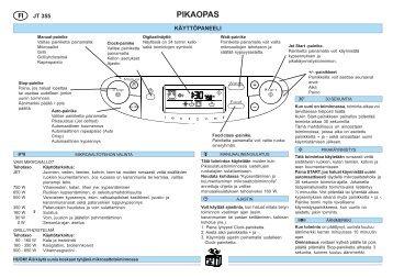 KitchenAid JT 355 WH - Microwave - JT 355 WH - Microwave FI (858735515290) Scheda programmi
