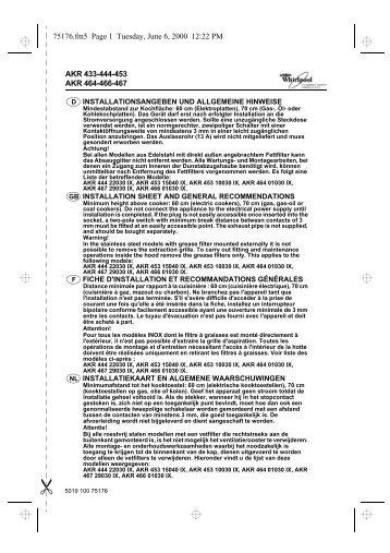KitchenAid 6 AKR 930 WH - Hood - 6 AKR 930 WH - Hood FR (857893053000) Istruzioni per l'Uso