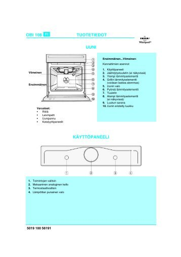 KitchenAid OBI 108 S - Oven - OBI 108 S - Oven FI (854180801000) Scheda programmi