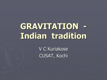 GRAVITATION - Indian tradition