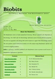 About the Newsletter The Bioinformatics Centre at Kerala ...