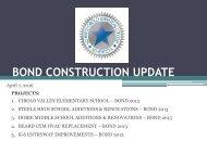 BOND CONSTRUCTION UPDATE