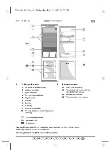 KitchenAid 1 CI-340/1 - Fridge/freezer combination - 1 CI-340/1 - Fridge/freezer combination FI (853976518080) Scheda programmi