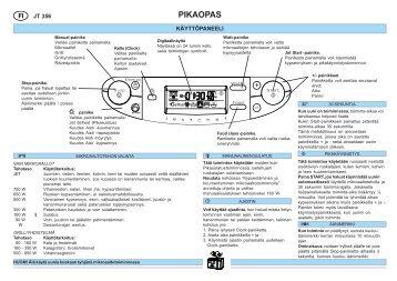 KitchenAid JT 356 BL - Microwave - JT 356 BL - Microwave FI (858735699490) Scheda programmi