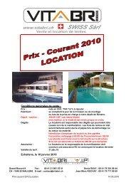 PRIX COURANT 2010 LOCATION