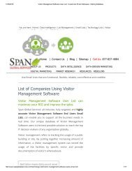 Get Tele Verified Visitor Management Software using Companies from Span Global Services