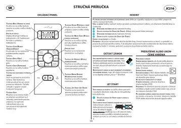 KitchenAid JC 216 BL - Microwave - JC 216 BL - Microwave SK (858721699490) Scheda programmi