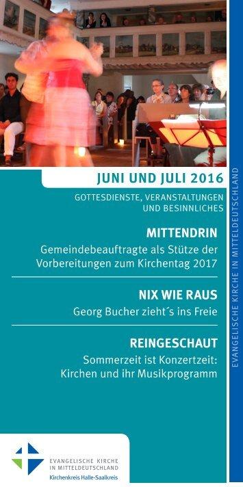 Programm des Evang. Kirchenkreises Halle-Saalkreis für Juni und Juli 2016