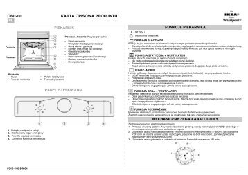 KitchenAid OBI 200 AN - Oven - OBI 200 AN - Oven PL (854178801000) Scheda programmi