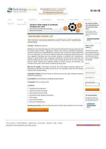 IBM Maximo Users List _ IBM Maximo Customers Email Addresses | IBM Maximo Vendors Mailing Database