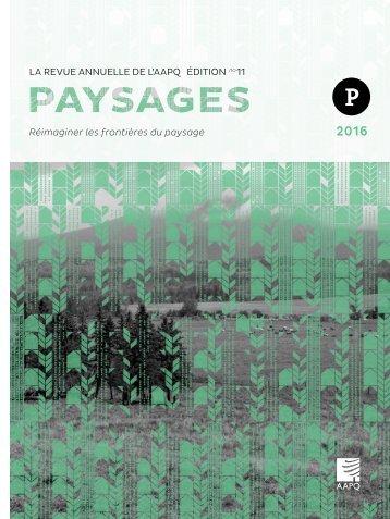 PAYSAGES 2016 | Réimaginer les frontières du paysage
